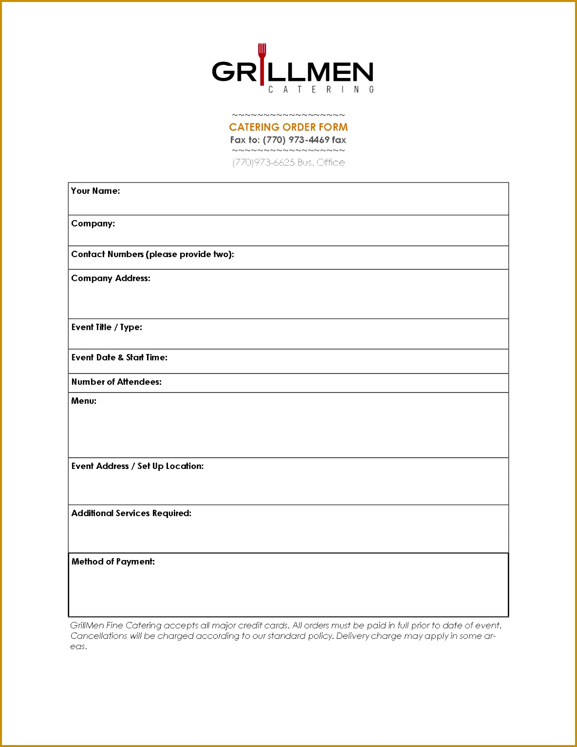 catering order form template word 42585 catering invoice template