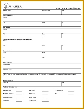 Change order request template excel Change of Address Request Firefighters Credit Union 277358