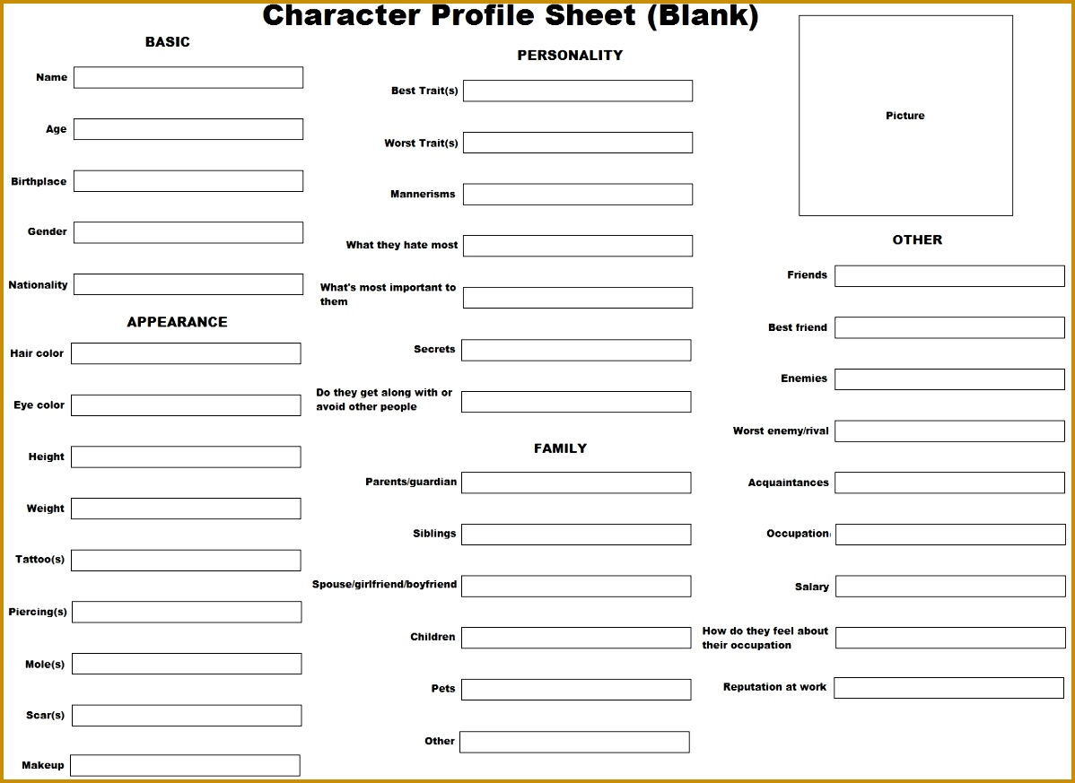 Anime Character Profile Template 8731198