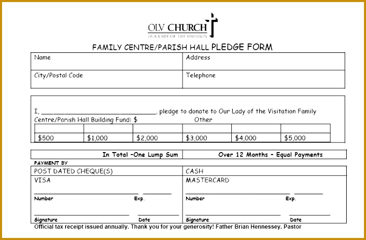 Church Donation Pledge Form Template on Pinterest Selimtd 720472