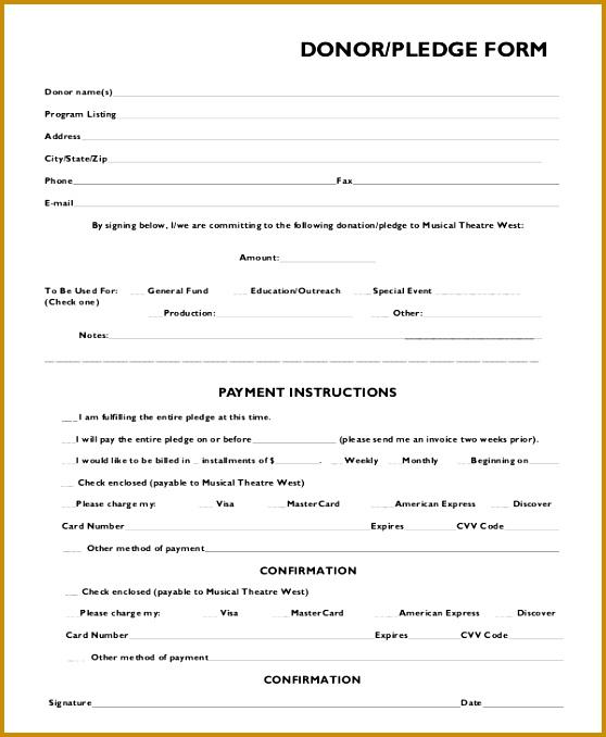 donation pledge form sample 678558
