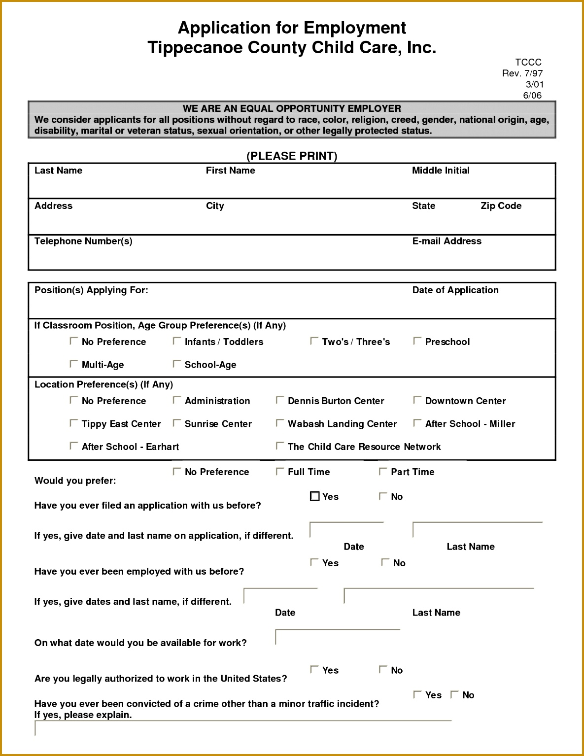 child care employment application template Google Search 15341185