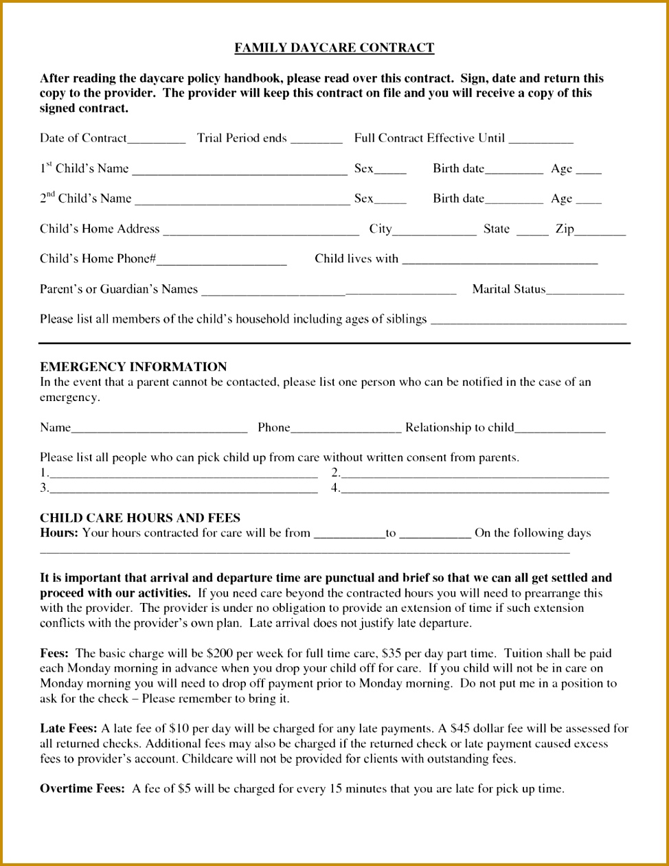 9 Daycare Application Form Templates Free Pdf Doc Format Printable Daycare Contract Family After Reading The Free Forms And Sample Documents 1261974
