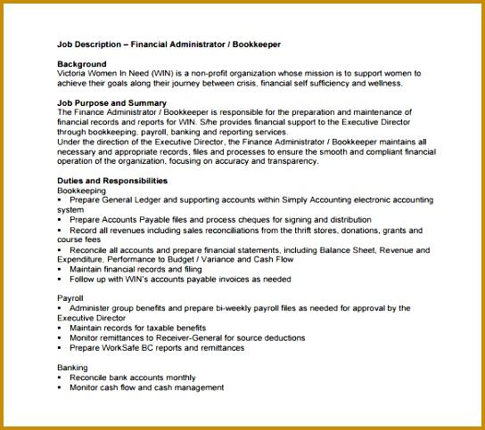 Church Bookkeeper Job Description  Fabtemplatez