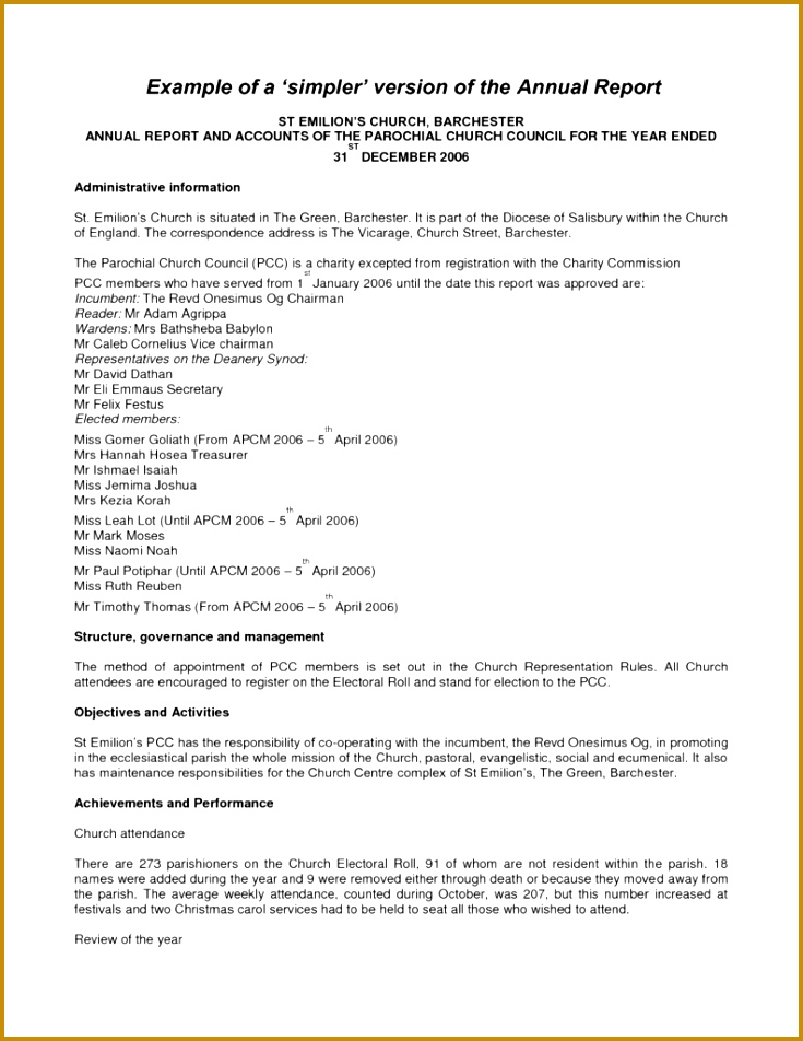 Sample Church Financial Report and Simple Version Annual Report Template Sample Helloalive 735952