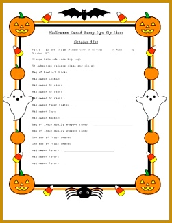 Halloween Party Sign Up Sheet 325251