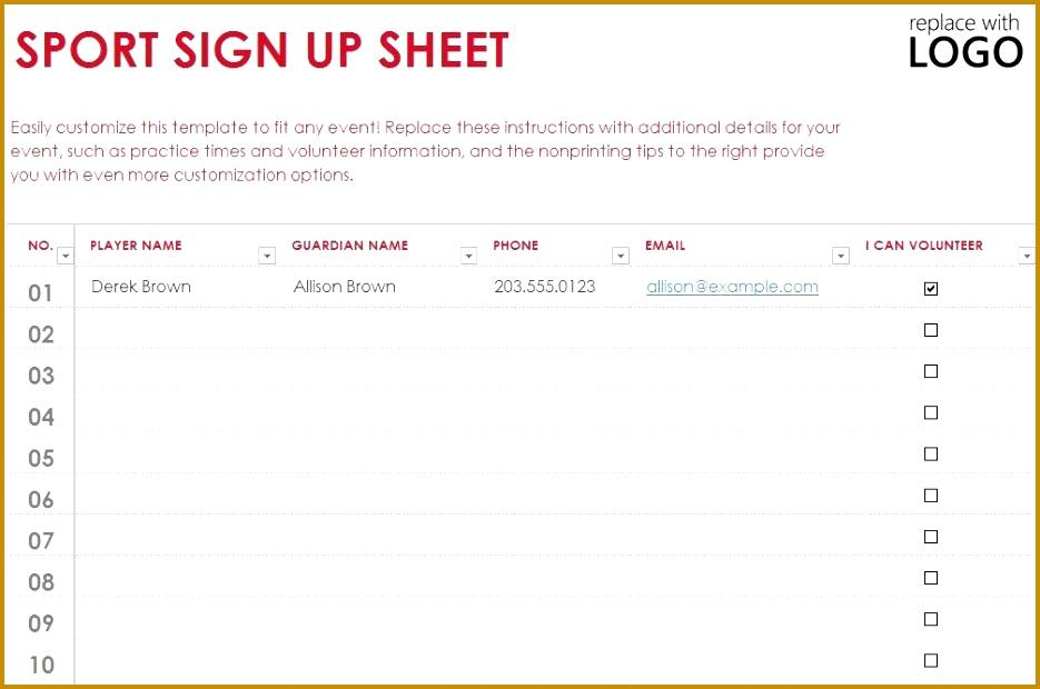 Sign Up Sheet Template 620935