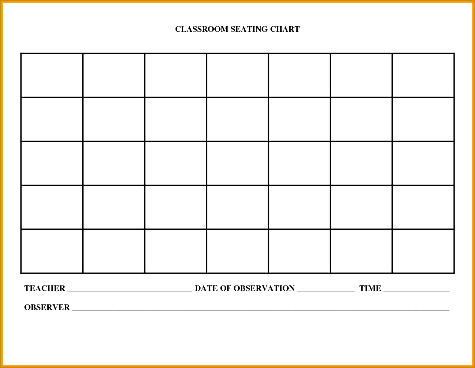 Seating Chart Classroom Template Free Downloadable Basic 12041553