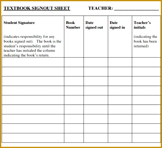 Printable Sign Out Sheet 494539