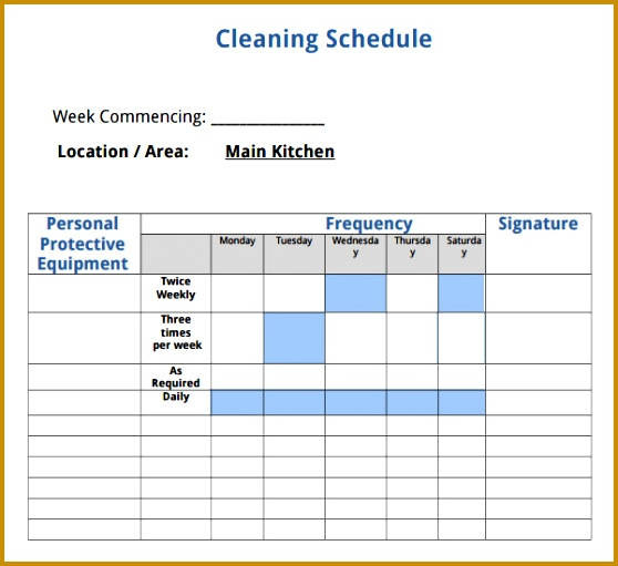 House Cleaning Schedule Template 511558