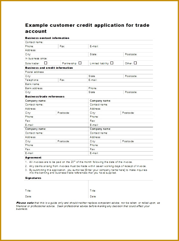Printable Credit Application Form 05 811601