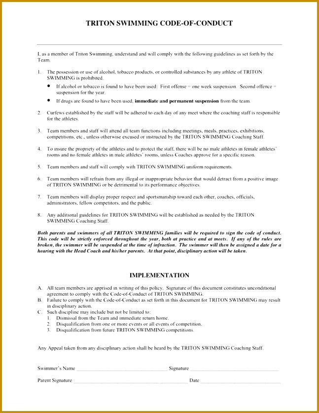 Ethics Form Template by Code Conduct Form In Word And Pdf Formats 837647