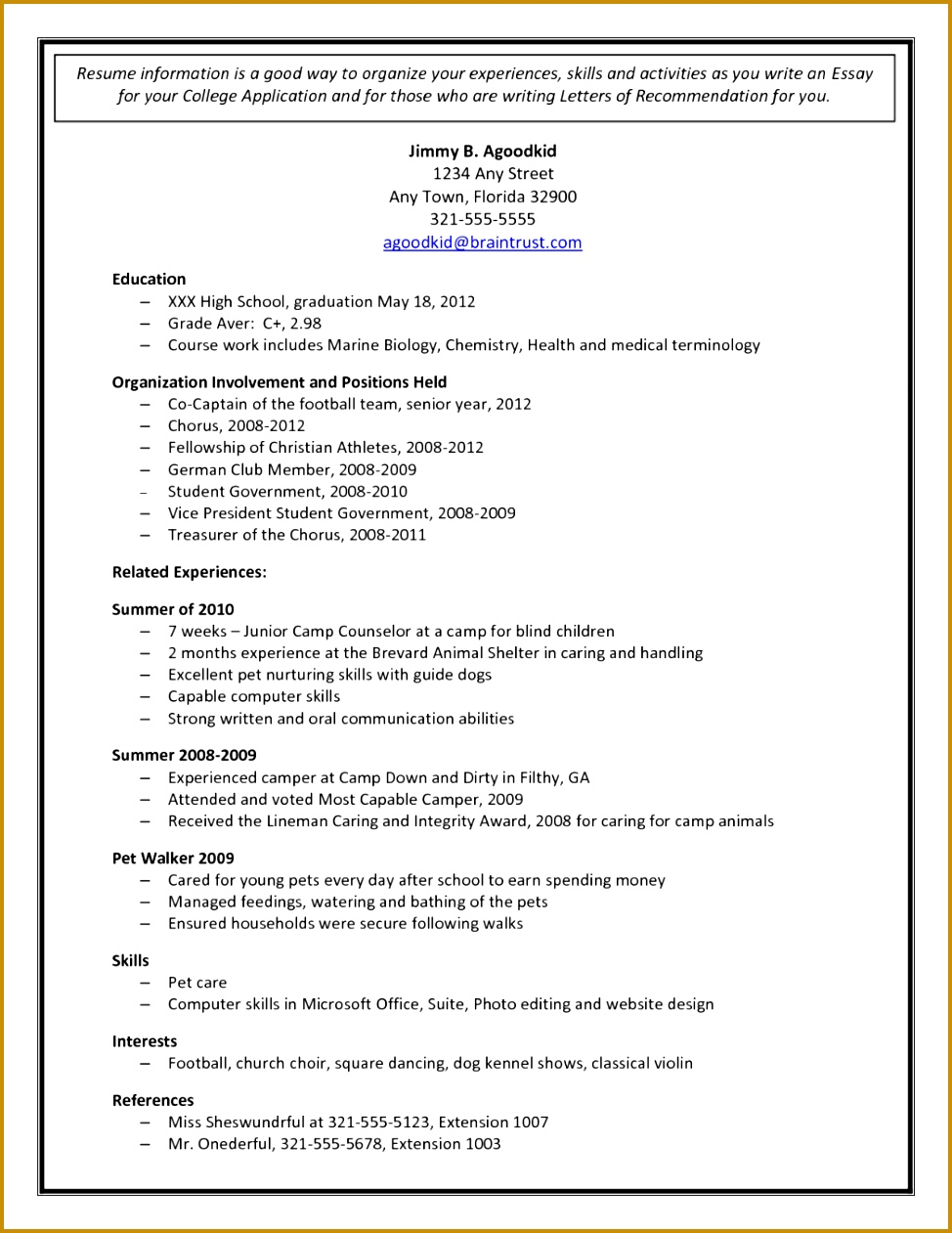 College Admission Resume Template Document Sample Education High School For Application A830cce8ac ab0 High School Resume Template 1261974