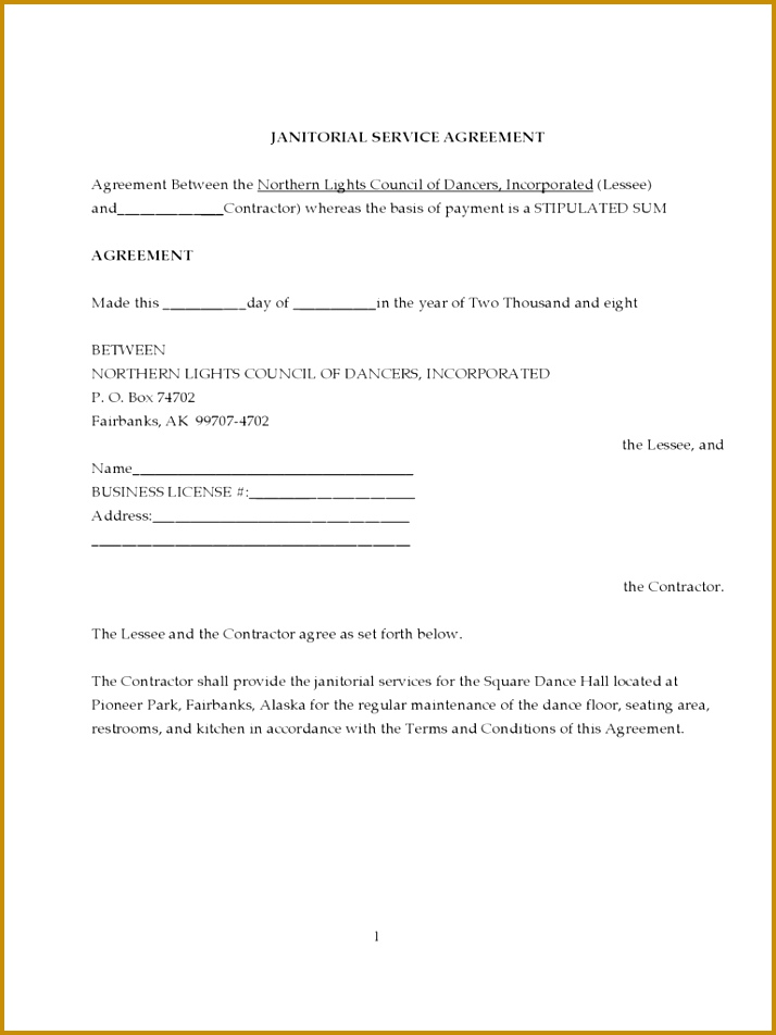 Janitorial Contract Template Janitorial Service Agreement 952714