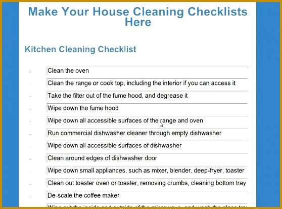 house cleaning checklists 413558