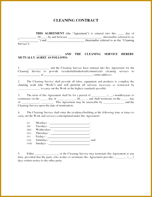 Maid Service Sample Maid Service Agreement cleaning contract agreement 524677