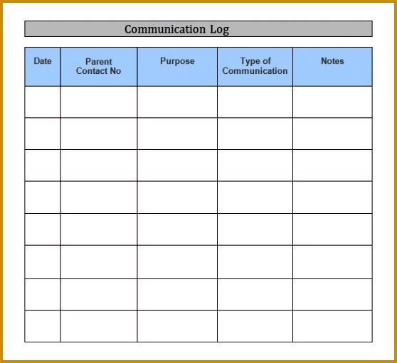 munication log template word 558511