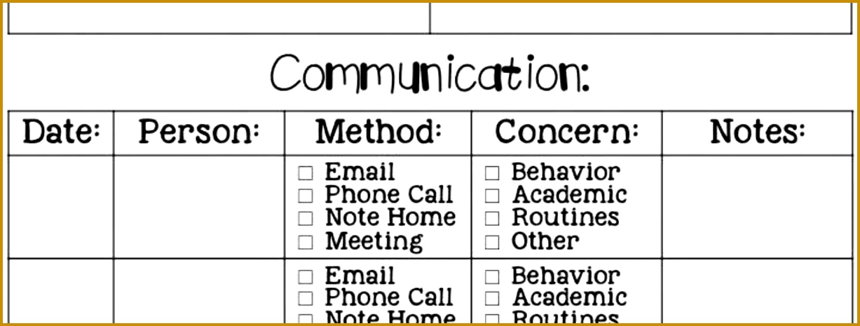 munication Log For Parents munication Log Template Word Free Parent Contact Log 4651227