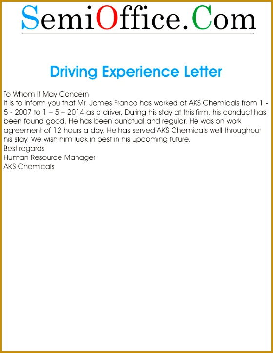 Experience Letter for Car Driver 724560