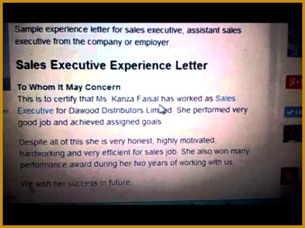 Experience Letter For Sales Executive 334446