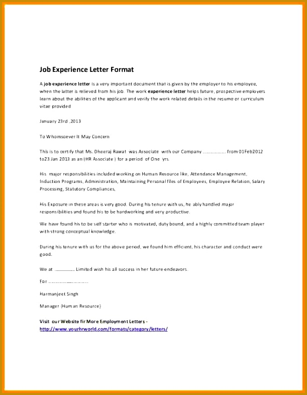work experience certificate sample pdf 2 611786