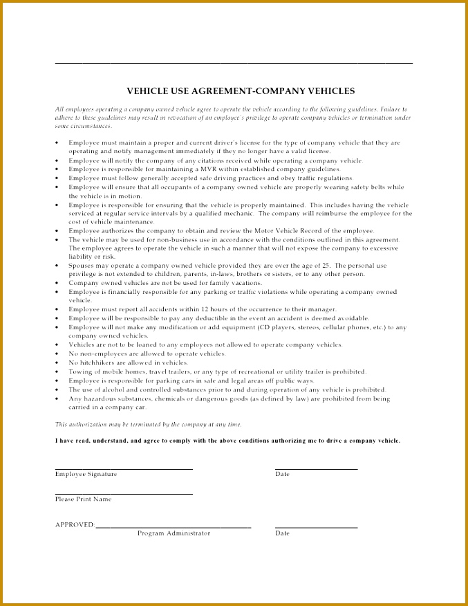 VEHICLE USE AGREEMENT PANY VEHICLES All employees operating a pany owned vehicle agree to operate 876677