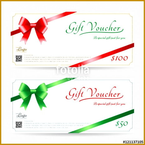 Christmas t card or t voucher template with shiny red and green bows with ribbon vector 465465