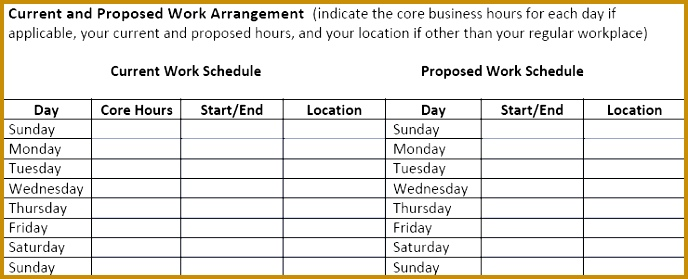 Flexible work schedule proposal gallery project proposal for Compressed work week proposal template
