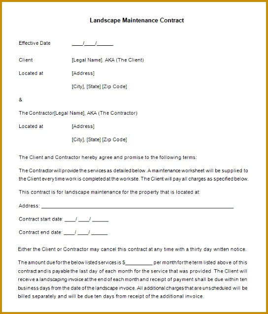 Free Download Landscaping Maintenance Contract Template 638544