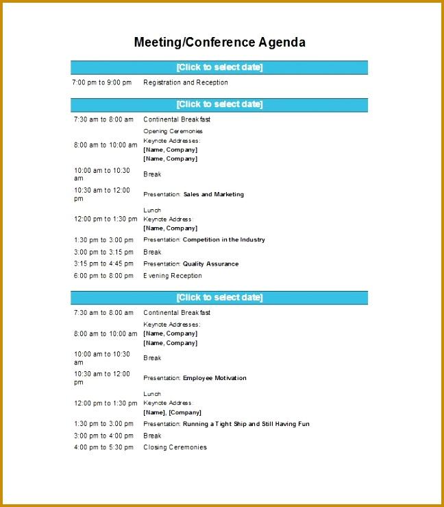 Printable Meeting Agenda Template 37 739648