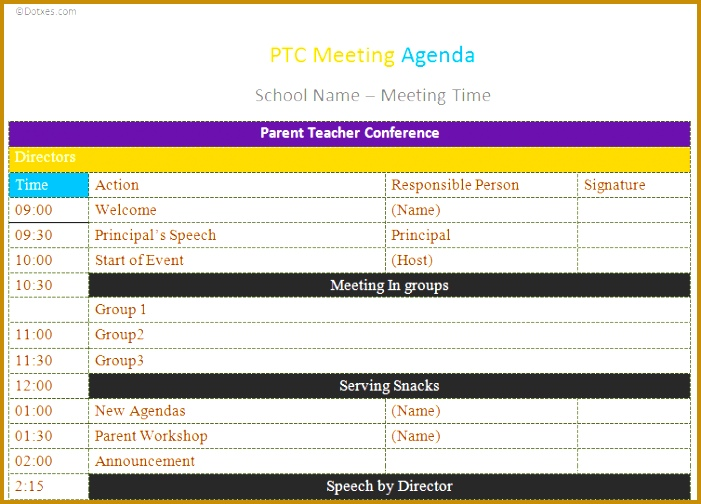 Use PTC meeting agenda template to make your munications better between parents and educators 504701