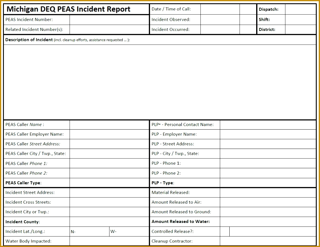 Image of the Michigan PEAS Incident Report Sample Form 8311073