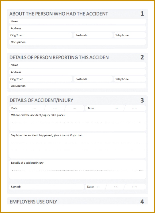 Blank Accident Report Template 544744