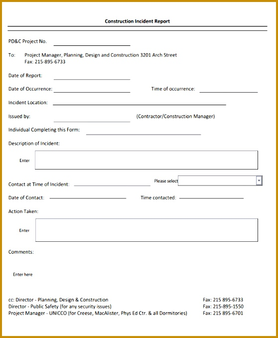 5 Construction Incident Report Template