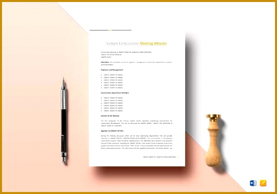 Printable Construction Meeting Minutes Template 390558
