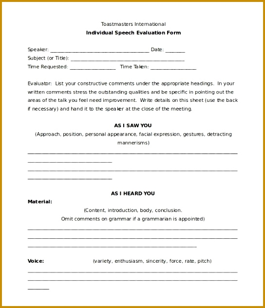 Toastmaster Evaluation Template – 20 Free Word PDF Documents 544632