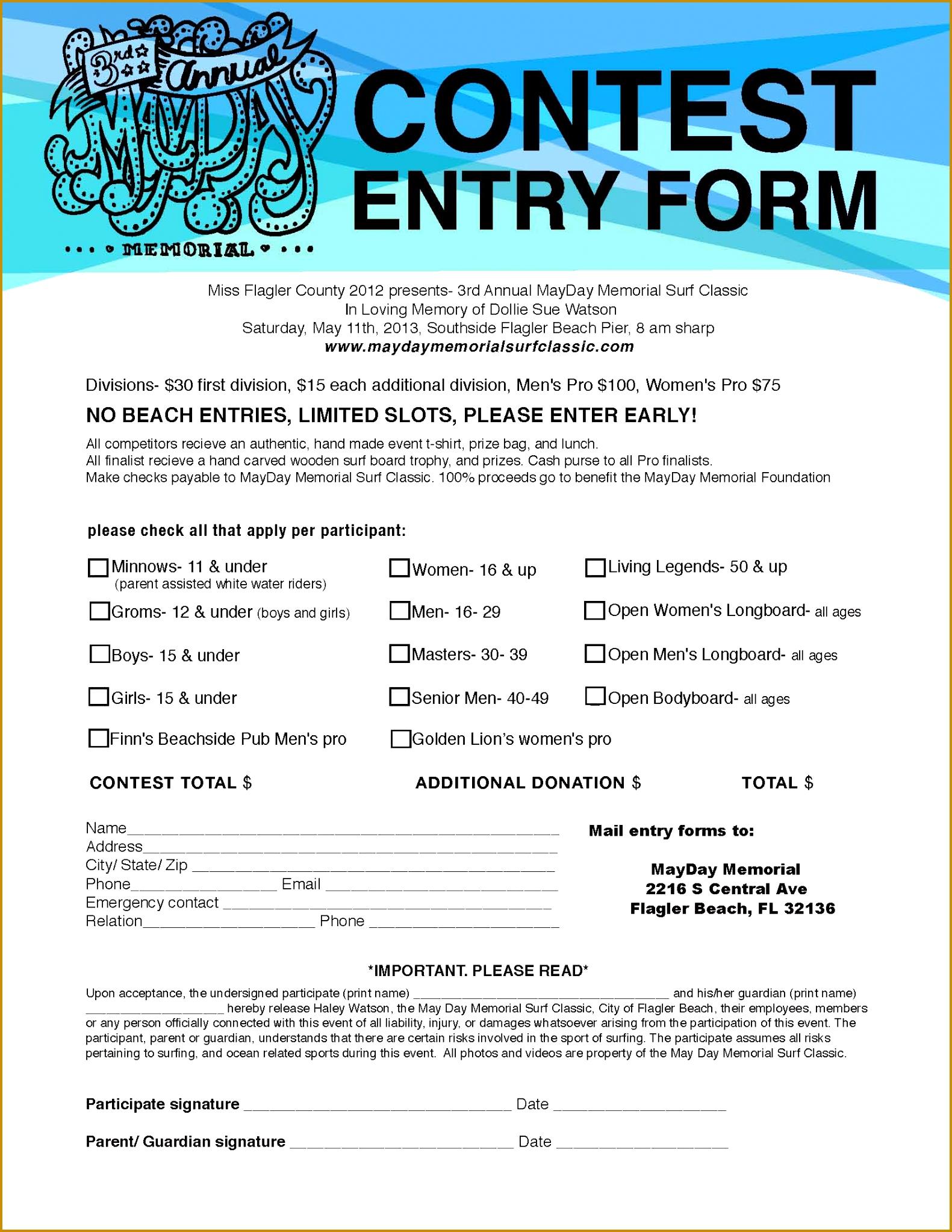 2013 Entry Form Word Template Mayday Entryform 20461581