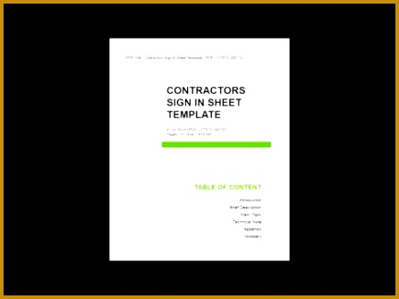 Contractors Sign In Sheet Template 334446