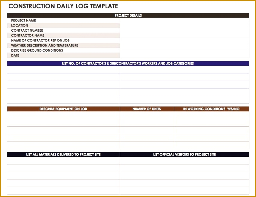 Construction Daily Log Template 660854