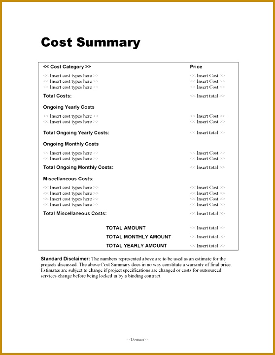 Costing Proposal Template  Fabtemplatez