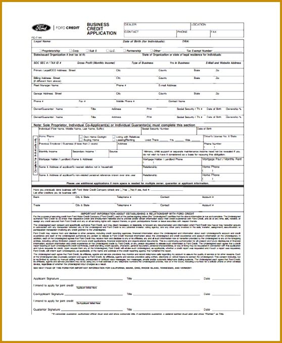 Free Business Credit Application business lease credit application form 558678