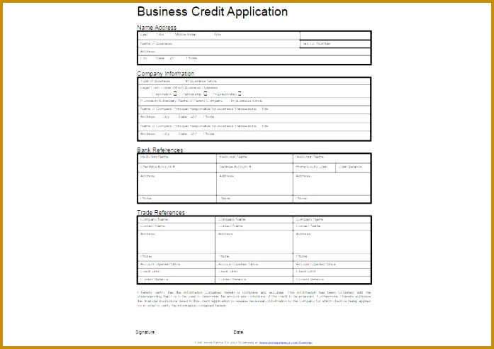 14 Business Credit Application Templates 492697