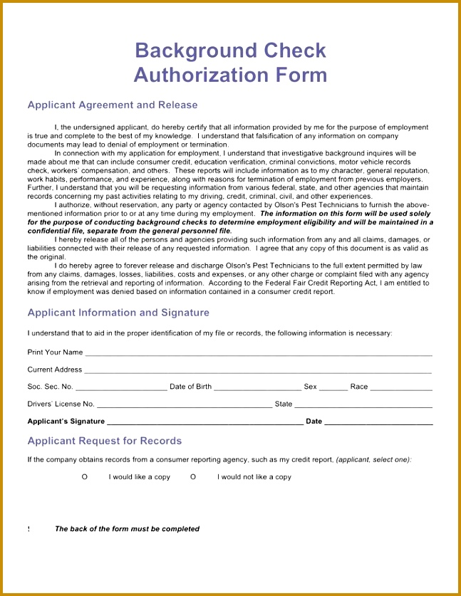 Background Check Authorization Form Template Background Check