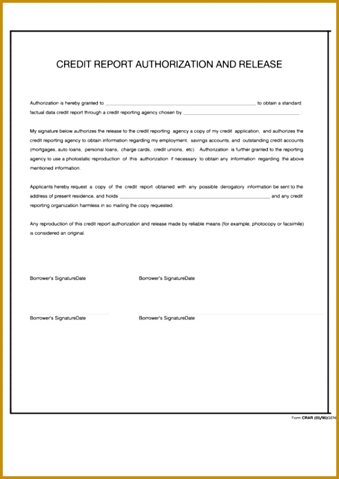 Credit Report Authorization Form Template  Fabtemplatez