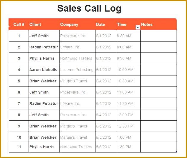 Sales Phone Log Template 632533