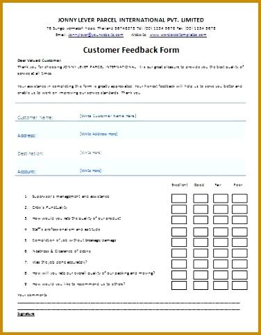 MS Word Printable Customer Feedback Form Template 376483