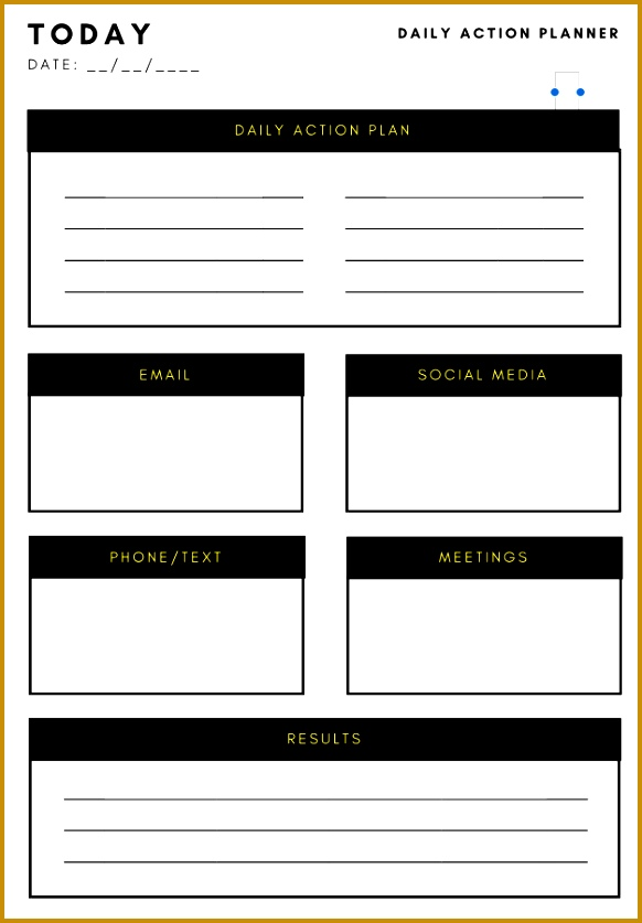 Daily Action Plan Template 837582