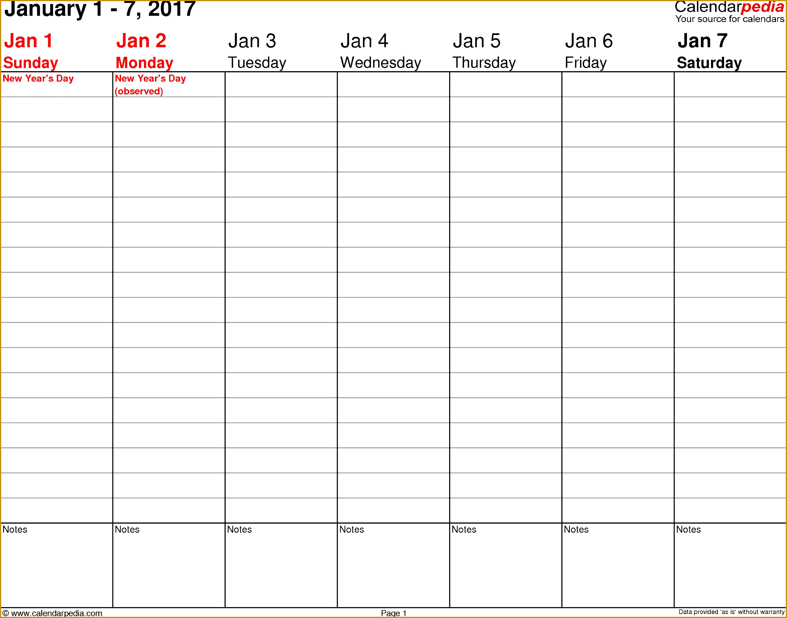 Weekly calendar 2017 template for PDF version 3 landscape 53 pages no 27442154