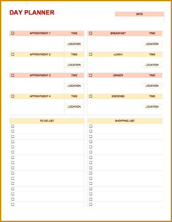 Temp DayPlanner Word Download Day Planner Template 730564