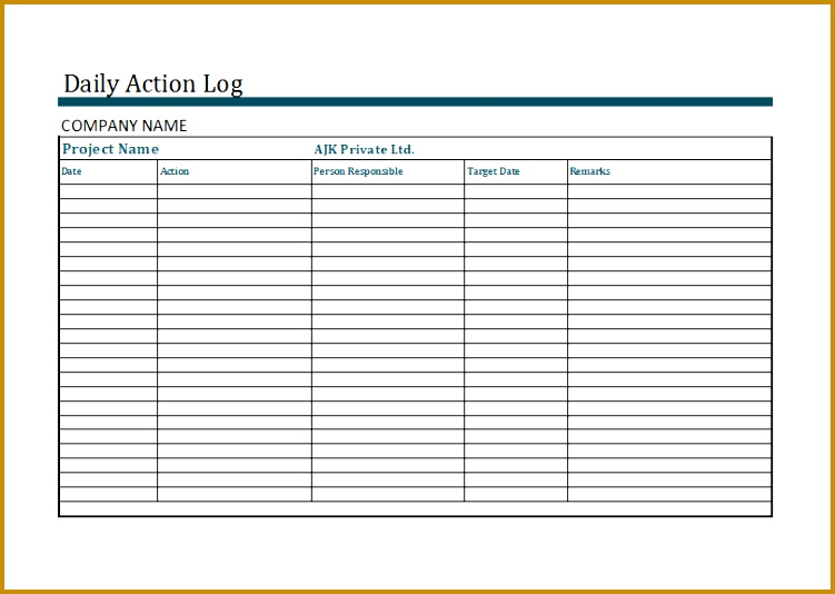 daily action log template 534751